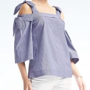 Banana Republic Pinstripe Off The Shoulder Top